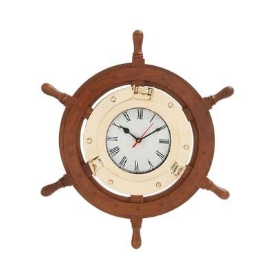 Wood Wheel With Brass Porthole CLOCK