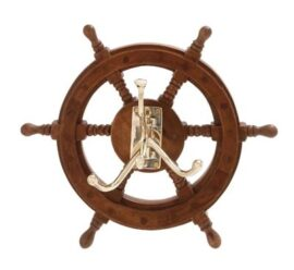 Ship's Wheel with Brass Hooks