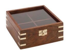 Wooden Display Case With Glass Lid