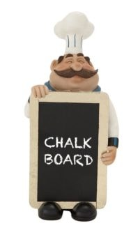 Decorative Chef with Real Chalkboard