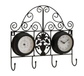 Wall Clock with Thermometer and Hooks