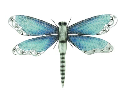 Iridescent Aqua Blue Dragonfly 13 inches large by Glassquirks |Iridescent Dragonflies