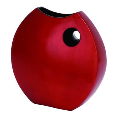 Modern Red Lacquer Rounded Vase