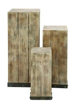 Set of 3 Rustic Wooden Stands
