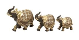Set of 3 Decorated Elephants