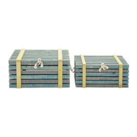 Set of 2 Wooden Nautical Trunks