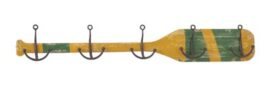 Rustic Wood Oar with 5 Anchor Hooks