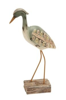 Shorebird Figurine with Wood-Look Trim
