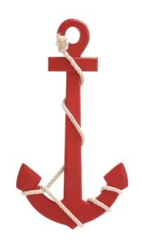 Red Wood Anchor with Rope