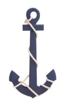 Blue Wood Anchor with Rope
