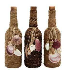 Assorted Coastal Rope and Shells Glass Bottle