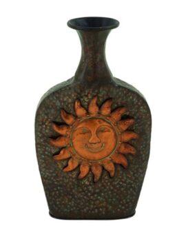 Metal Sun Face Vase