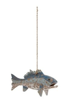 Wood Fish Hanging From Rope
