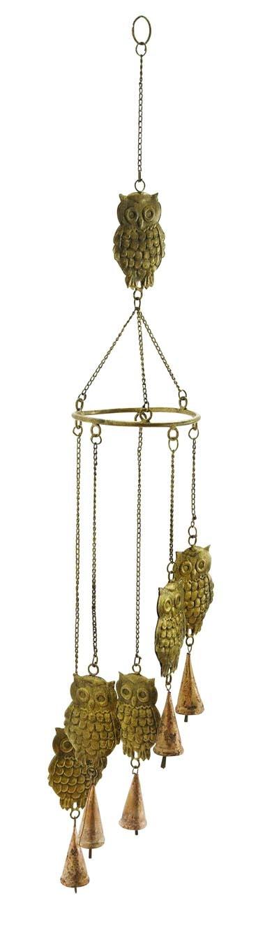 metal owl wind chime globe imports. Black Bedroom Furniture Sets. Home Design Ideas