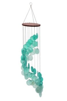 Aqua Color Capiz Wind Chime