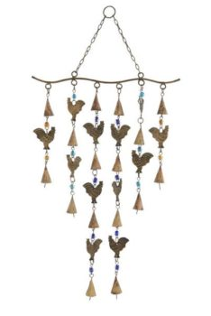 Metal Rooster Chime with Beads