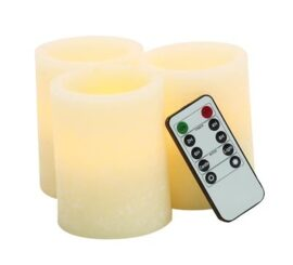 Set Of 3 Flameless LED Candles with Remote