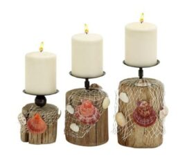 Set of Three Coastal Pillar Candleholders