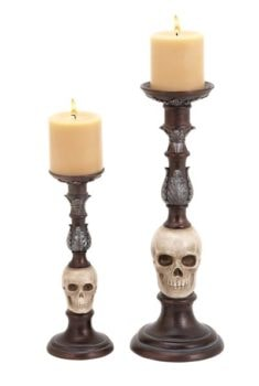 Set of 2 Skull Candlesticks