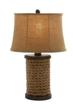 Wood and Rope Table Lamp