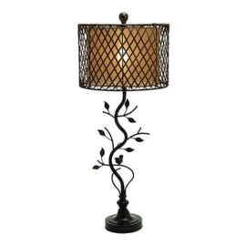 Metal Polystone and Rattan Table Lamp