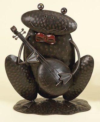 Metal Frog Musician Figurine Globe Imports