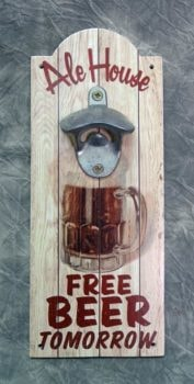 Wooden Beer Sign with Bottle Opener