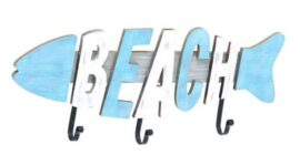Fish Shaped Beach Sign with Hooks