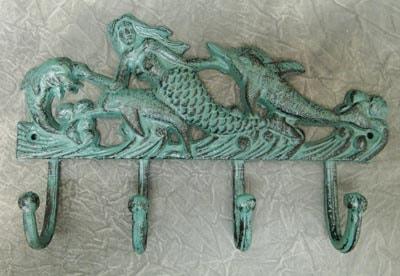 Verdigris Mermaid and Dolphin Hook