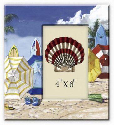 Beach Umbrella Ceramic Photo Frame