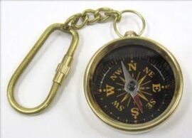 Brass Compass Key Ring