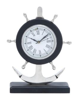 Nautical Wheel on Anchor Clock