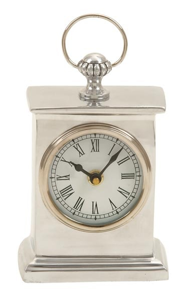 Silver Colored Table Clock Globe Imports