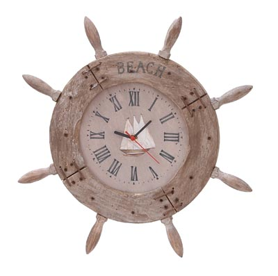 Weathered Ship's Wheel Clock