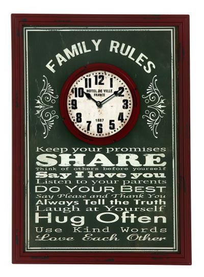 Rules Of The Family Wall Clock Globe Imports