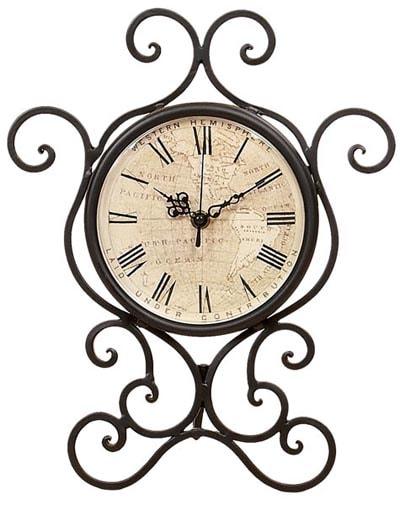Metal Scroll Table Clock