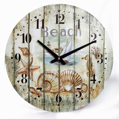 Weathered Beach Wall Clock Globe Imports
