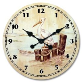 Pelican on Posts Wall Clock