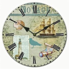 Voyage Themed Ceramic Wall Clock