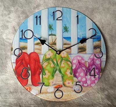 FLIP FLOPS Glass Wall Clock