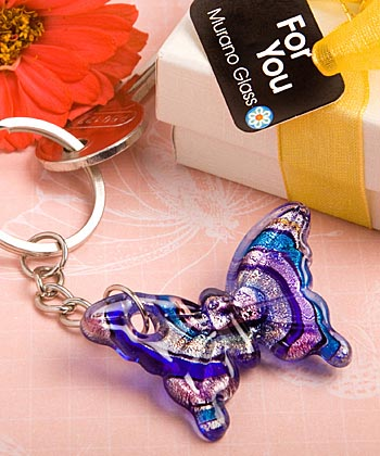 Glass Butterfly Key Ring