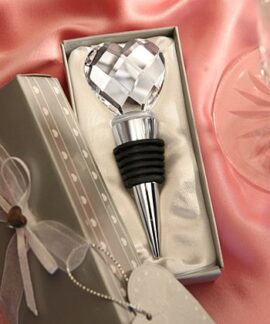 Faceted Crystal Heart Bottle Stopper