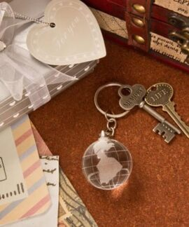 Crystal Globe Key Ring