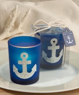 Glass Candle Holder with Anchor Design