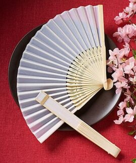 White Silk Folding Fan