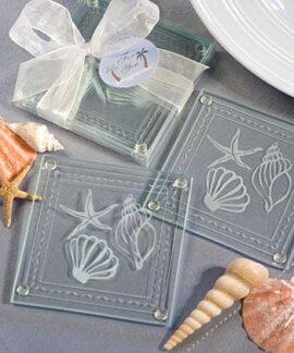 Set of 2 Glass Ocean Coasters