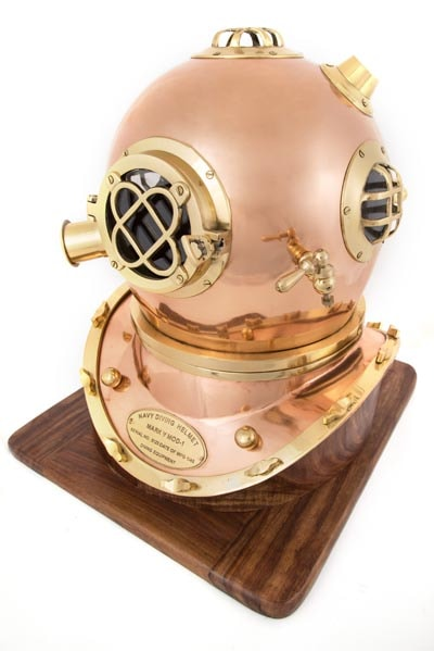 Copper Diving Helmet With Wooden Base Globe Imports