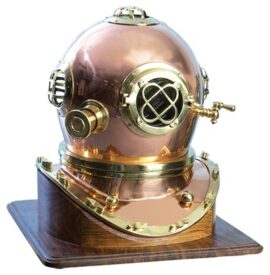 Copper Diving Helmet with Wooden Base