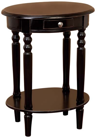 Wood Oval Accent Table with Drawer