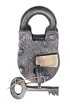 Antique Style Metal Lock and Key